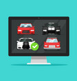 car auto auction online on desktop computer or pc vector image