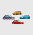 car set icons vehicle transport parking vector image