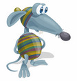 cartoon blue eyed funny rat in striped suit vector image vector image