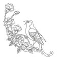 contour song bird with flowers composition vector image vector image