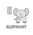 cute cartoon animals alphabet elephant vector image