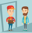 delivery courier delivering groceries to customer vector image