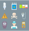 energy electricity power icons battery vector image