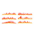 fire borders on white vector image vector image