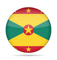 flag of grenada shiny round button vector image