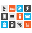 Flat technology and Communications icons vector image vector image