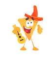 funny cartoon mexican nachos chip character vector image vector image