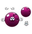 Glossy bowling ball cartoon mascot character vector image