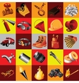 Great set of fire equipment 25 elements vector image