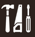 hammer saw and screwdriver tools icon vector image vector image