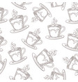hand drawn coffee pattern cute seamless print vector image