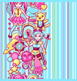 japanese anime cosplay seamless pattern cute vector image vector image