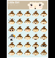 Little girl emoji icons vector image