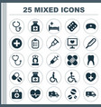 medicine icons set collection of injection drug vector image vector image