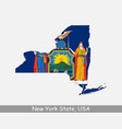 new york state usa map flag vector image vector image