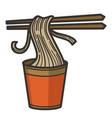 noodles in cup with chopsticks chinese or vector image