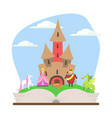 opened book with magic fairytale castle prince vector image vector image