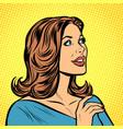 pop art beautiful woman in profile vector image vector image