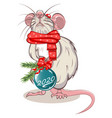 rat with christmas ball vector image vector image