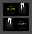 realistic detailed 3d black suit and tuxedo banner vector image vector image