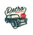 retro car service logo 24 7 retro vintage label vector image vector image