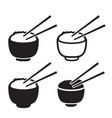 Set bowl rice with pair chopsticks icon