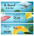 set of horisontal summer travel banners vector image