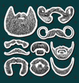set of stickers with beards and mustaches hand vector image