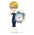 smiling cartoon businesswoman with alarm clocks vector image