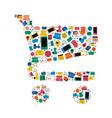social media shopping cart concept icon shape vector image vector image