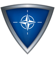 steel shield with flag nato vector image vector image