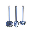 steel skimmer ladle set sketch isolated vector image vector image