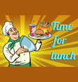 time for lunch fast food chef with tray with lid vector image vector image