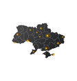 ukraine map with epicenter or signal circle vector image vector image