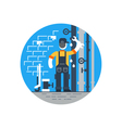 Worker with wrench repairing pipes water dropping vector image vector image