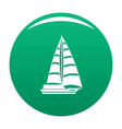 yacht modern icon green vector image