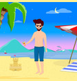 young man drinking cocktail on summer sandy beach vector image