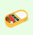 cute bento japanese lunch box funny cartoon food vector image