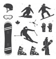 set of winter sports equipment skier and vector image