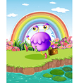 A monster walking near the pond with a rainbow in vector image vector image