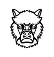 angry alpaca or llama head mascot black and white vector image