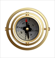 Antique copper compass for travelers vector image