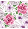 apple tree roses hydrangea flowers petals vector image