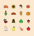 autumn icons set thanksgiving day autumn vector image