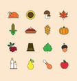 autumn icons set thanksgiving day vector image