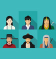 avatar chinese people in flat style art vector image vector image
