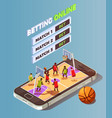basketball betting online concept vector image vector image