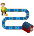 boardgame template with farmer and barn vector image vector image