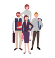 businessmen and women standing teamwork characters vector image