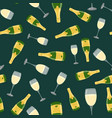 champagne bottle glass seamless pattern vector image vector image